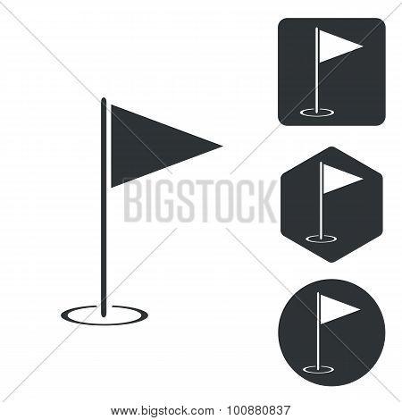 Golf flagstick icon set, monochrome