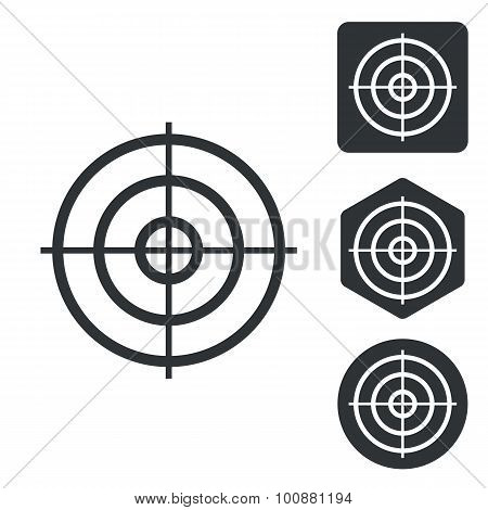 Aiming mark icon set, monochrome