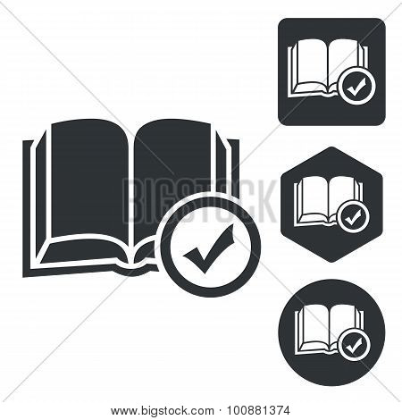 Select book icon set, monochrome