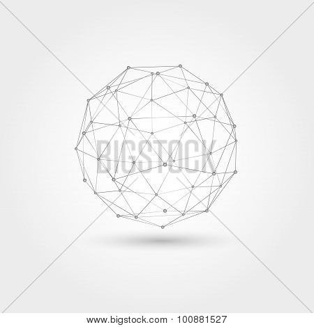 Vector Abstract Technology Illustration, Perspective Geometric Unusual Asymmetric Wireframe Object