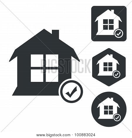 Select house icon set, monochrome