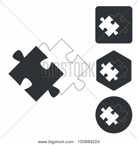 Matching puzzle icon set, monochrome