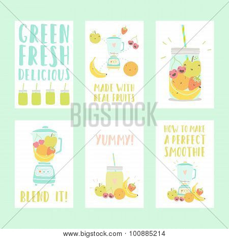 Set of six nice smoothie cards.