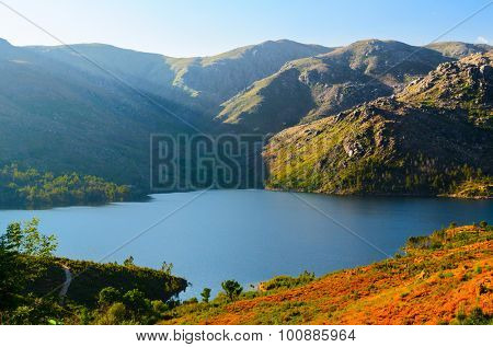 scenic view of mountain lake at Peneda-Geres National Park in northern Portugal.