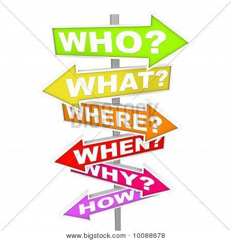 Preguntas sobre los signos de la flecha - quién qué dónde cuando por qué cómo