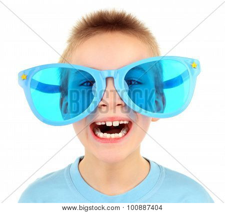 Kid In Big Blue Glasses