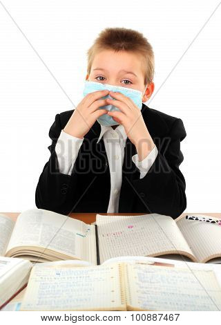 Schoolboy In Flu Mask