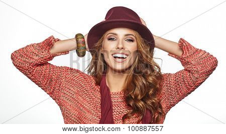 Beautiful brunette woman portrait in autumn color. Studio shoot