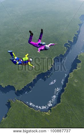 Parachutist on the green island.