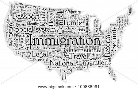 United States immigration word cloud