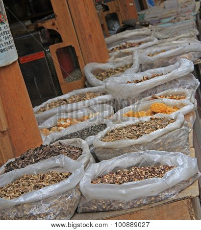dried spicery on the market in Lijiang