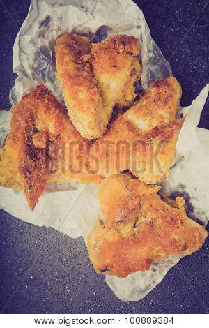 Vintage Photo Of Crisp Crunchy Golden Chicken Wings