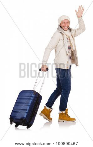 Tourist holding suitcase isolated on white