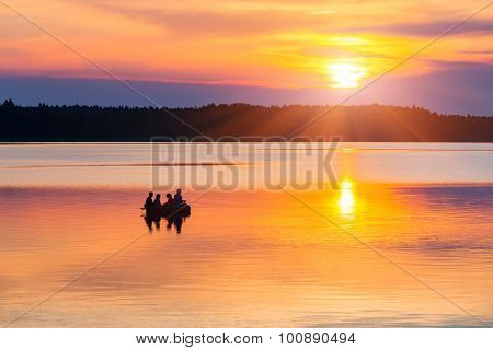 Beautiful tranquil sunset on a lake
