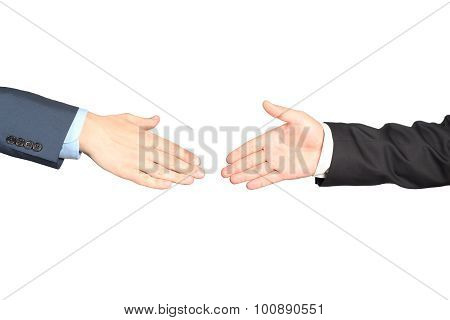 Close-up Image Of A Firm Handshake  Between Two Colleagues Isolated On A White Background