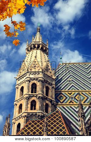 St. Stephan cathedral in Vienna at autumn