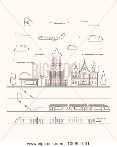 Vector City And Underground Illustration In Linear Style - Graphic Design Template.