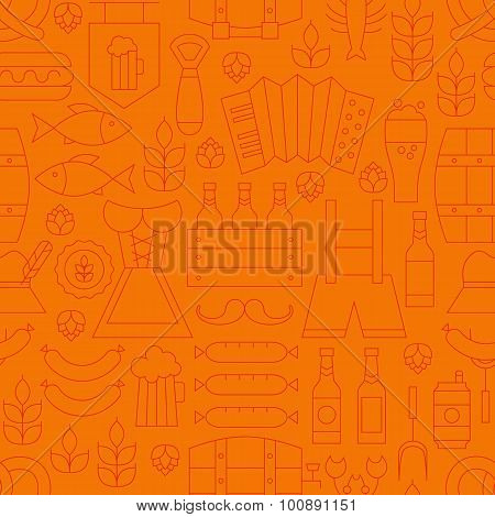 Thin Oktoberfest Line Alcohol Beer Orange Seamless Pattern