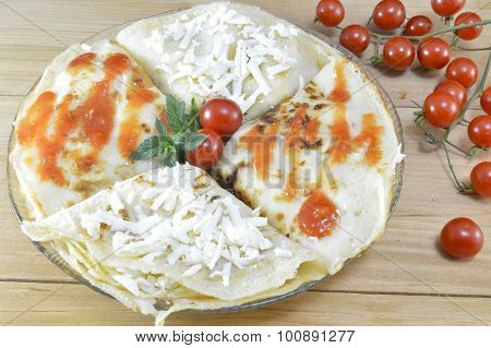 Homemade Salty Pancakes Served And Decorated