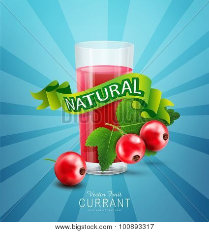 Vector blue background with red currants, fresh juice of red currants and green ribbon