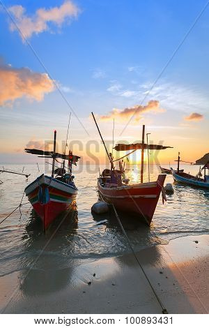 Sunset, Wooden Boats