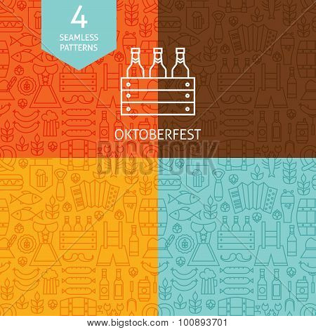 Thin Line Oktoberfest Beer Holiday Patterns Set