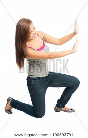 Woman Kneeling Arms Pushing Against Side Object