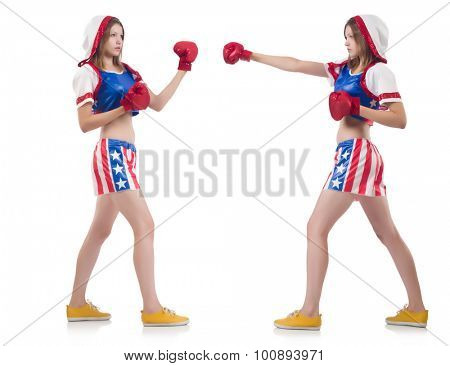 Female boxers in uniform with US symbols isolated on white