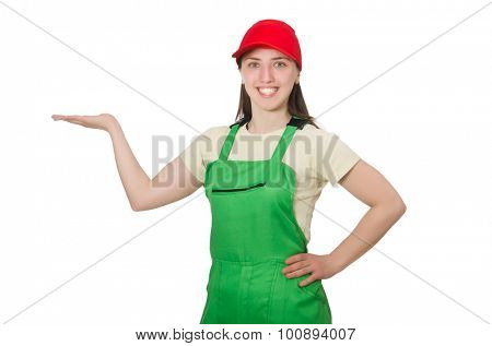 Female worker wearing coverall isolated on white