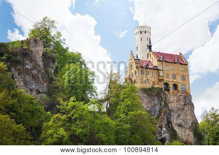 Lichtenstein Castle in Germany on rock cliff