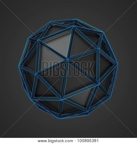 Low Poly Black Sphere with Wireframe.