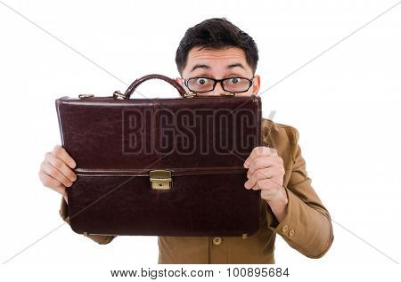 Young man with brown briefcase isolated on white