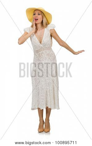 Woman in long summer dress and hat isolated on white
