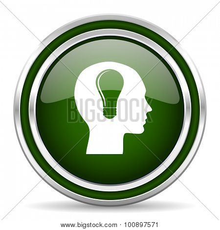 head green glossy web icon modern design with double metallic silver border on white background with shadow for web and mobile app round internet original button for business usage