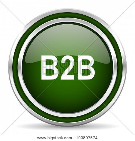 b2b green glossy web icon modern design with double metallic silver border on white background with shadow for web and mobile app round internet original button for business usage