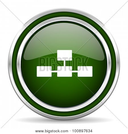 database green glossy web icon modern design with double metallic silver border on white background with shadow for web and mobile app round internet original button for business usage