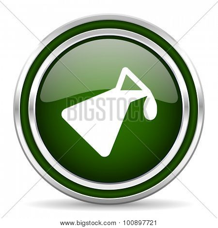chemistry green glossy web icon modern design with double metallic silver border on white background with shadow for web and mobile app round internet original button for business usage