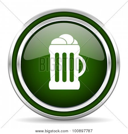 beer green glossy web icon modern design with double metallic silver border on white background with shadow for web and mobile app round internet original button for business usage