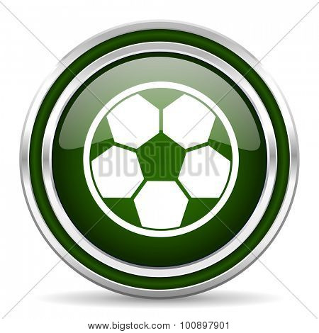 soccer green glossy web icon modern design with double metallic silver border on white background with shadow for web and mobile app round internet original button for business usage
