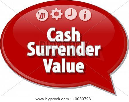 Speech bubble dialog illustration of business term saying Cash Surrender Value
