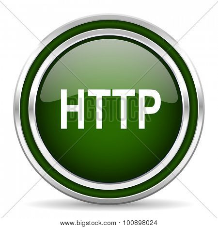 http green glossy web icon modern design with double metallic silver border on white background with shadow for web and mobile app round internet original button for business usage