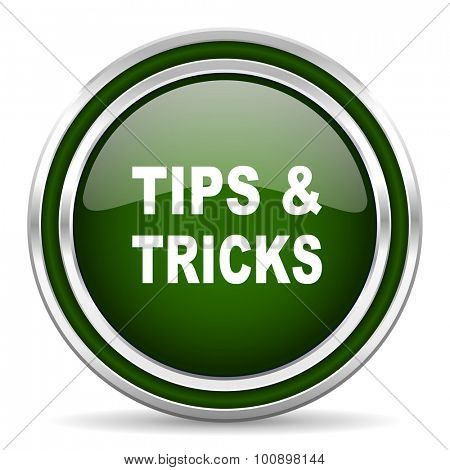 tips tricks green glossy web icon modern design with double metallic silver border on white background with shadow for web and mobile app round internet original button for business usage