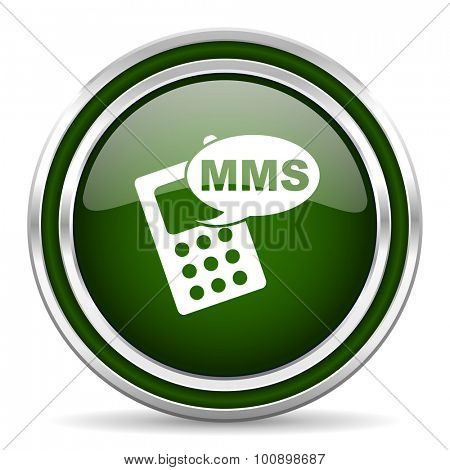 mms green glossy web icon modern design with double metallic silver border on white background with shadow for web and mobile app round internet original button for business usage