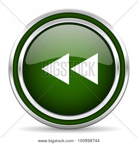 rewind green glossy web icon modern design with double metallic silver border on white background with shadow for web and mobile app round internet original button for business usage