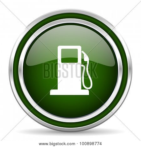 petrol green glossy web icon modern design with double metallic silver border on white background with shadow for web and mobile app round internet original button for business usage