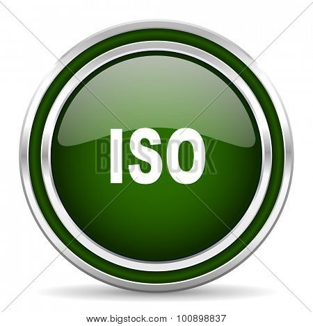 iso green glossy web icon modern design with double metallic silver border on white background with shadow for web and mobile app round internet original button for business usage
