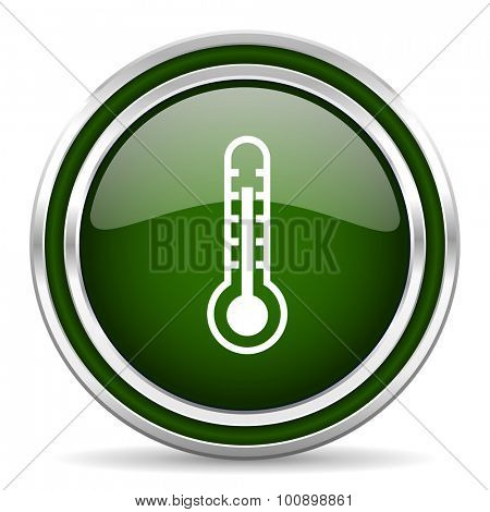thermometer green glossy web icon modern design with double metallic silver border on white background with shadow for web and mobile app round internet original button for business usage