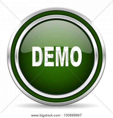 demo green glossy web icon modern design with double metallic silver border on white background with shadow for web and mobile app round internet original button for business usage