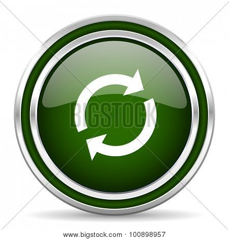 reload green glossy web icon modern design with double metallic silver border on white background with shadow for web and mobile app round internet original button for business usage