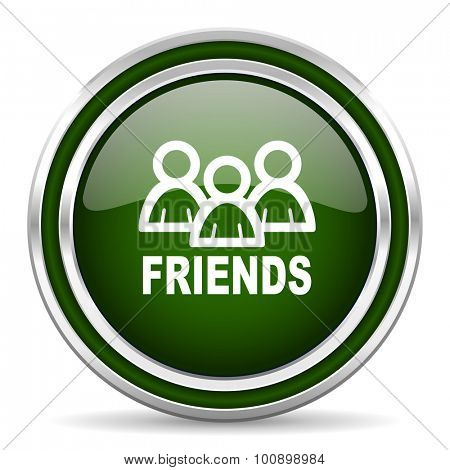 friends green glossy web icon modern design with double metallic silver border on white background with shadow for web and mobile app round internet original button for business usage